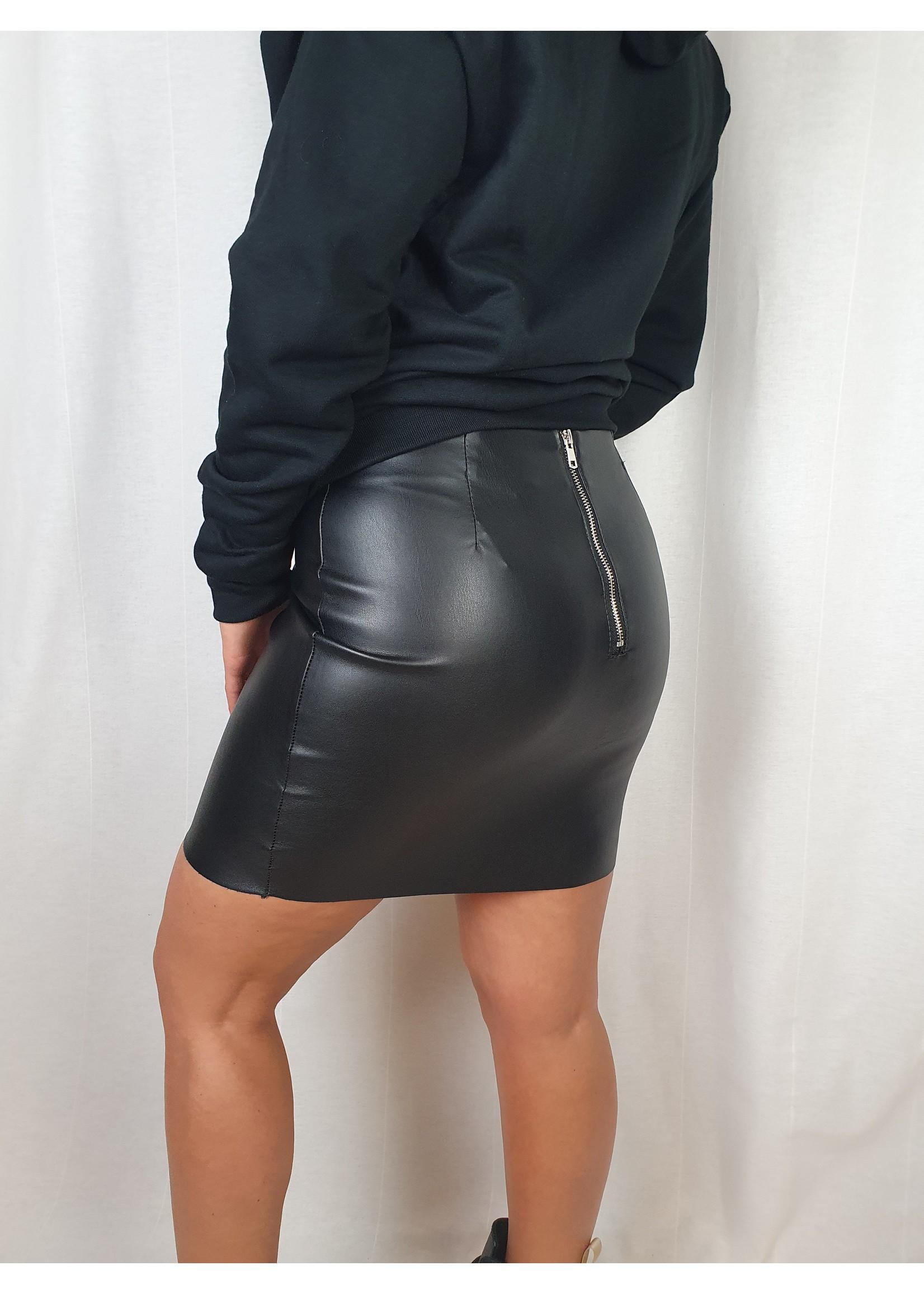 Ladybugs LM2312 Elena basic leather skirt BLACK