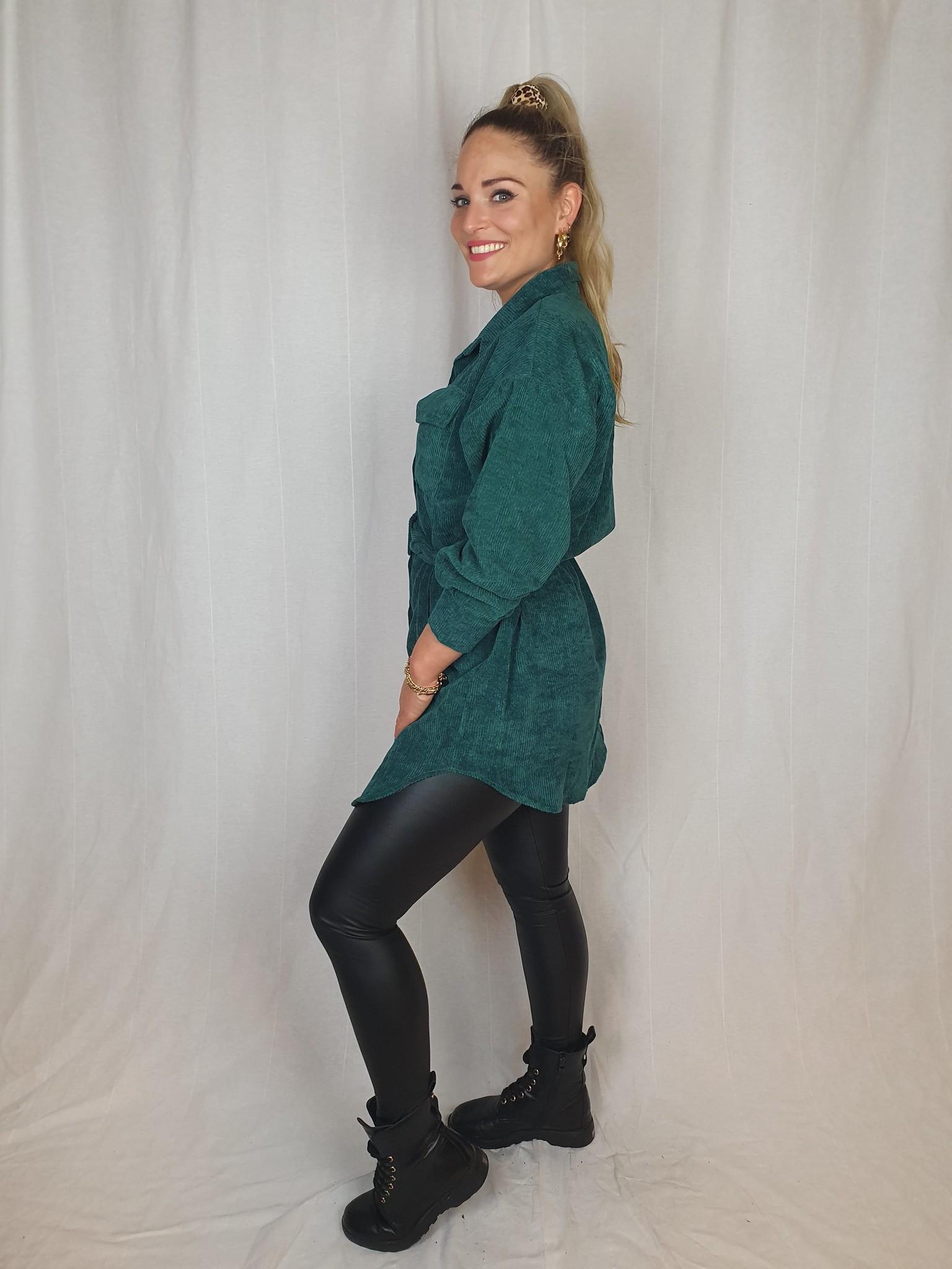 Ladybugs Pien corduroy dress BOTTLE GREEN