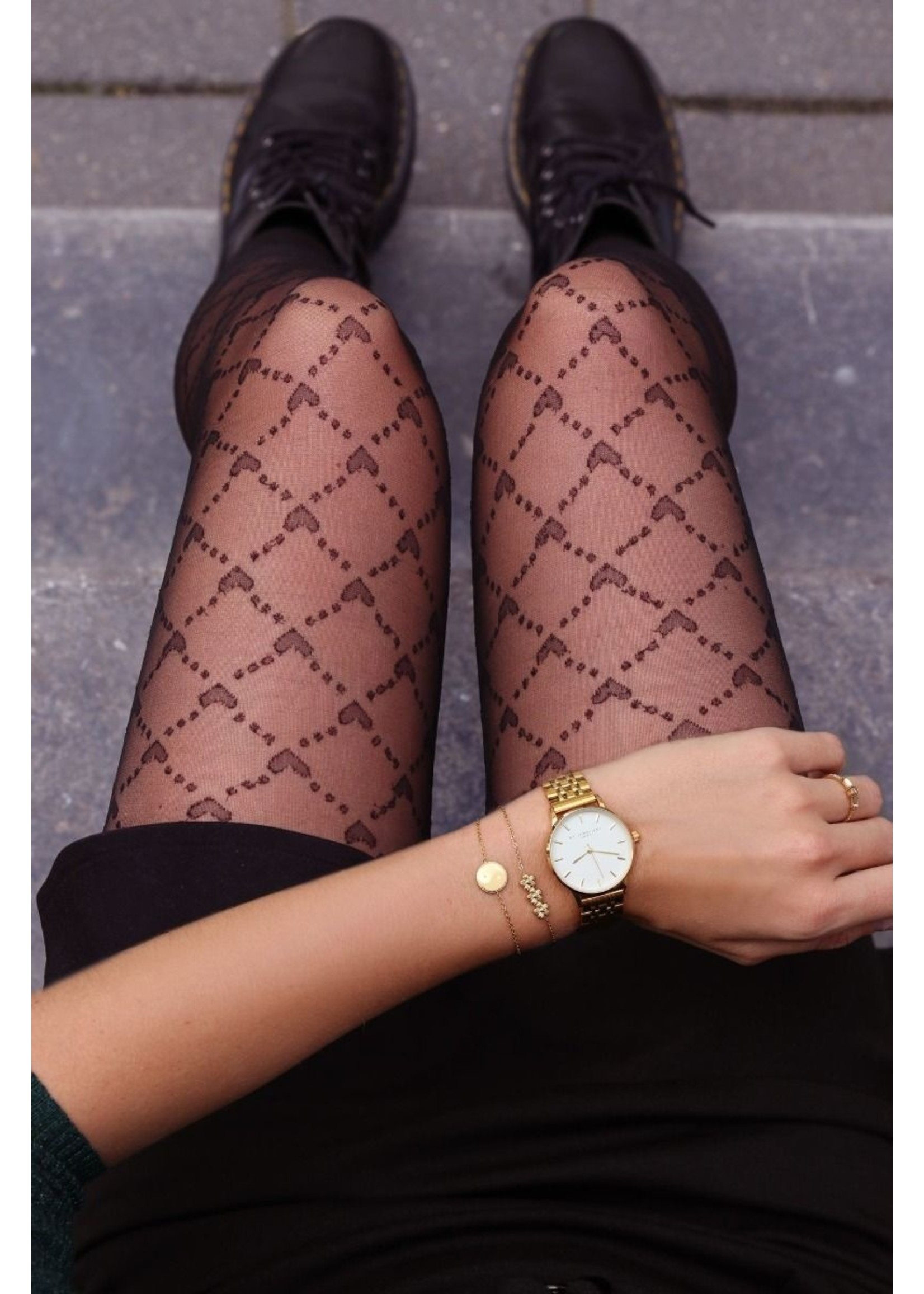 Ladybugs High waist shaping tights CHECKED HEART 20den. MY JEWELLERY