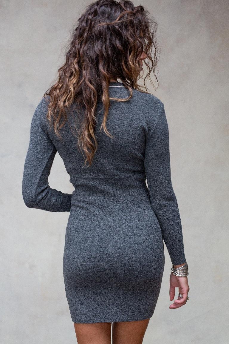 Moost Wanted Gebreide getailleerde  jurk Isabel grijs