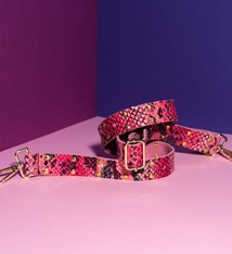 Pinned by K Leather bag strap  PINK SNAKE