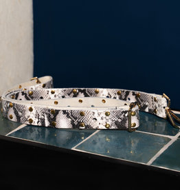 Pinned by K Leather bag strap  WHITE SNAKE