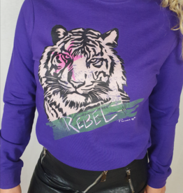 Pinned by K Paarse sweater met tijger print