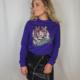 Pinned by K Paarse trui met tijger plaatje en rebel tekst