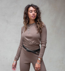 Moost Wanted Fierce knitted top ASH BROWN