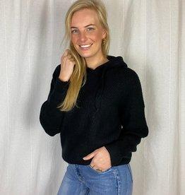 Ladybugs Zwarte gebreide trui met capuchon Jill knitted hoodie