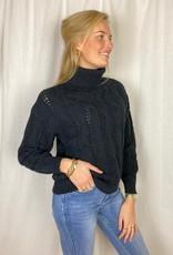 Ladybugs Zwarte col trui met kabel motief