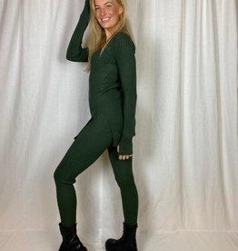 Ladybugs Gebreide twinset met v hals en skinny broek groen Kim