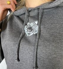 Pinned by K Grijze hoodie met tijger opdruk
