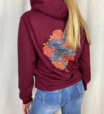 Pinned by K bordeauxrode hoodie met slang print