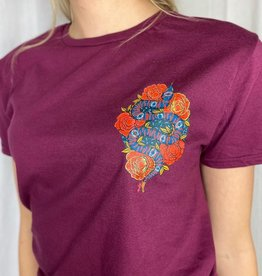 Pinned by K Bordo rodo shirt met slang en bloemen
