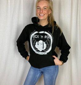 Pinned by K Zwarte hoodie rock 'n roll print