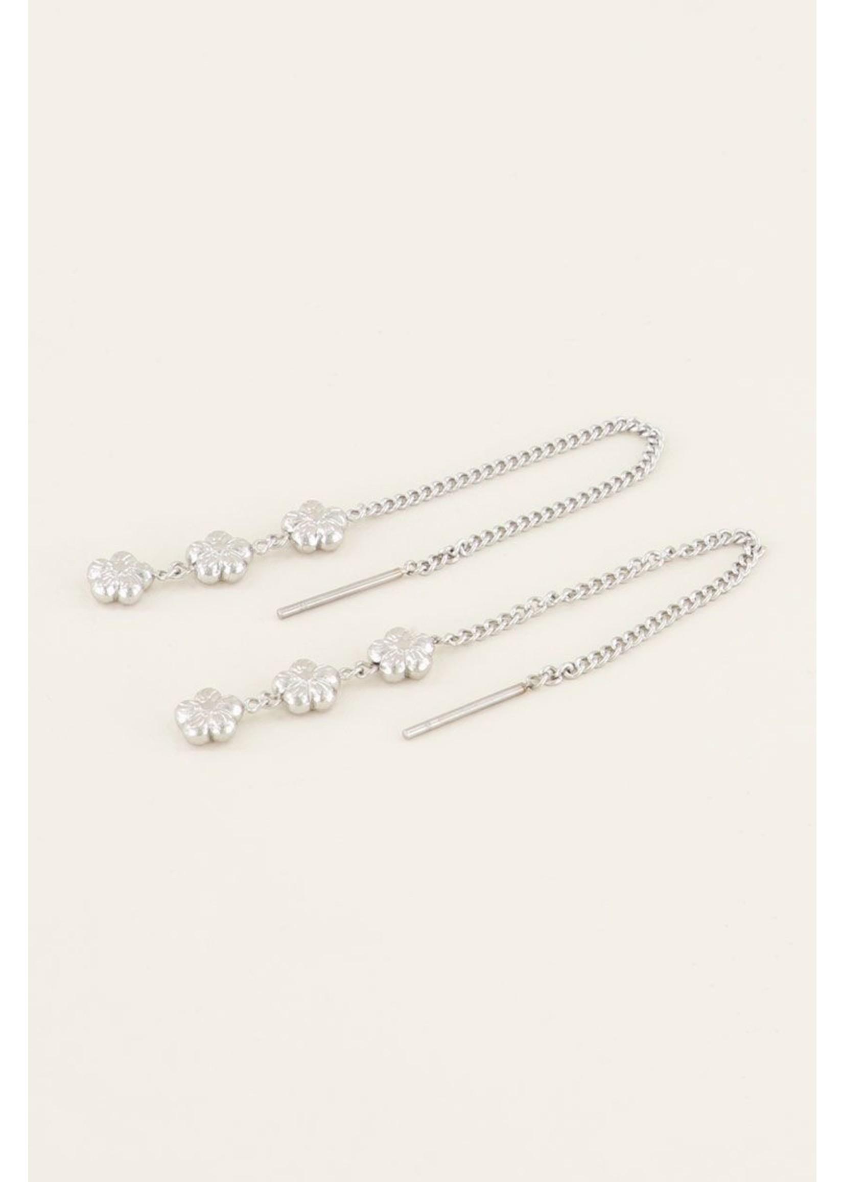 My Jewellery Oorhangers drie bloemtjes zilver