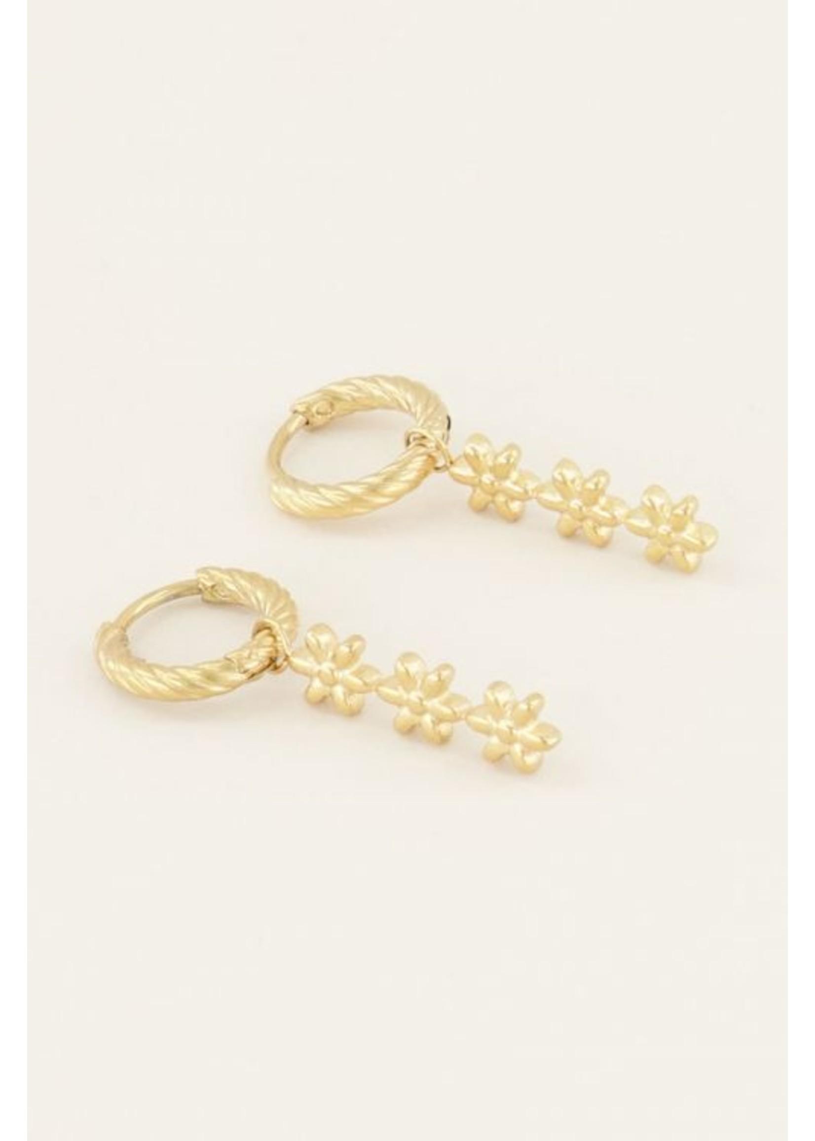 My Jewellery Oorringen drie bloemetjes goud