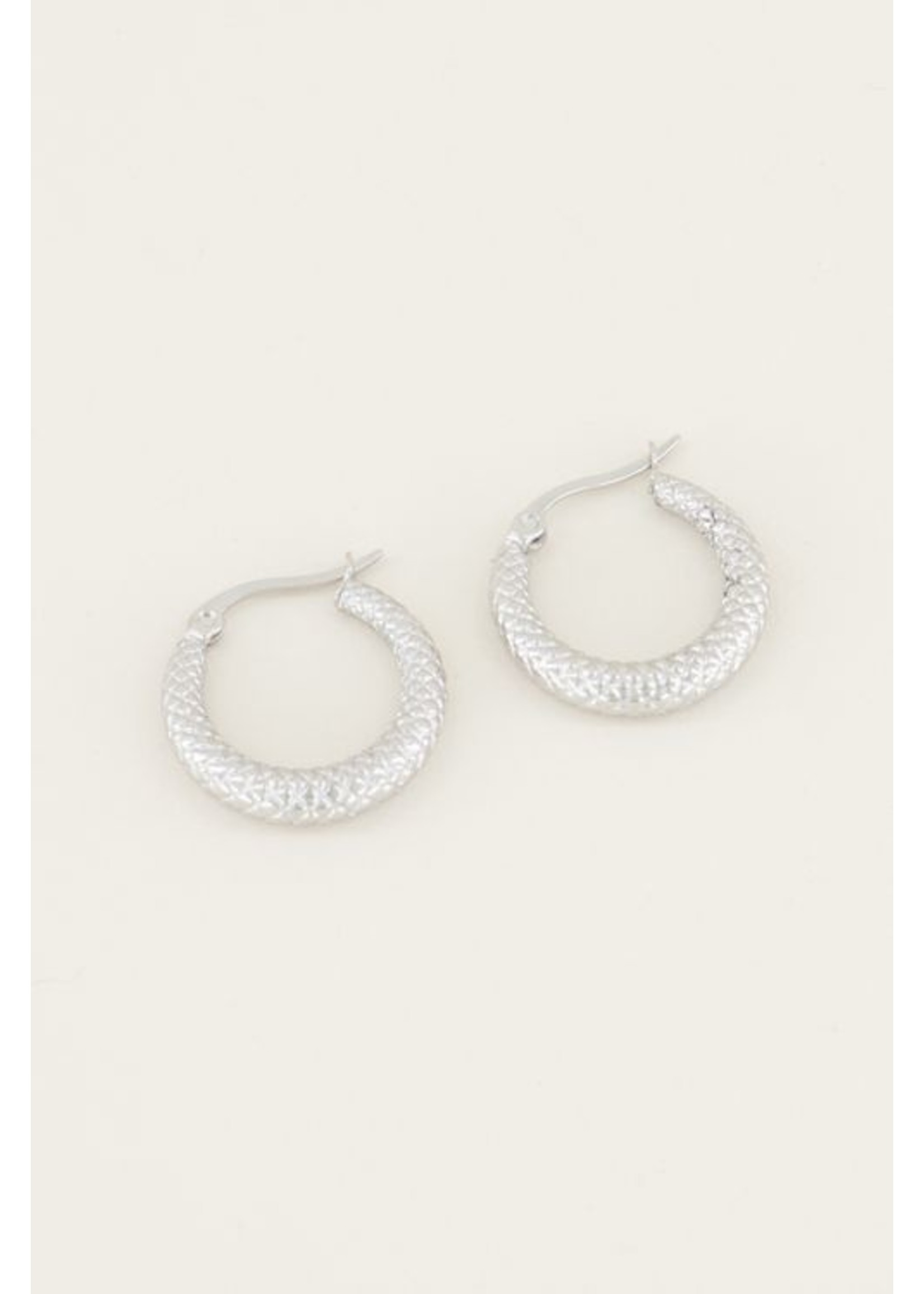 My Jewellery Oorringn geruit patroon zilver