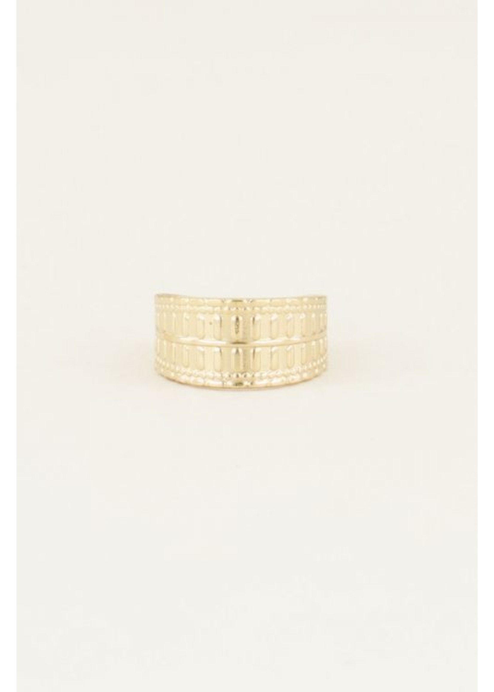 My Jewellery brede ring met patroon GOUD
