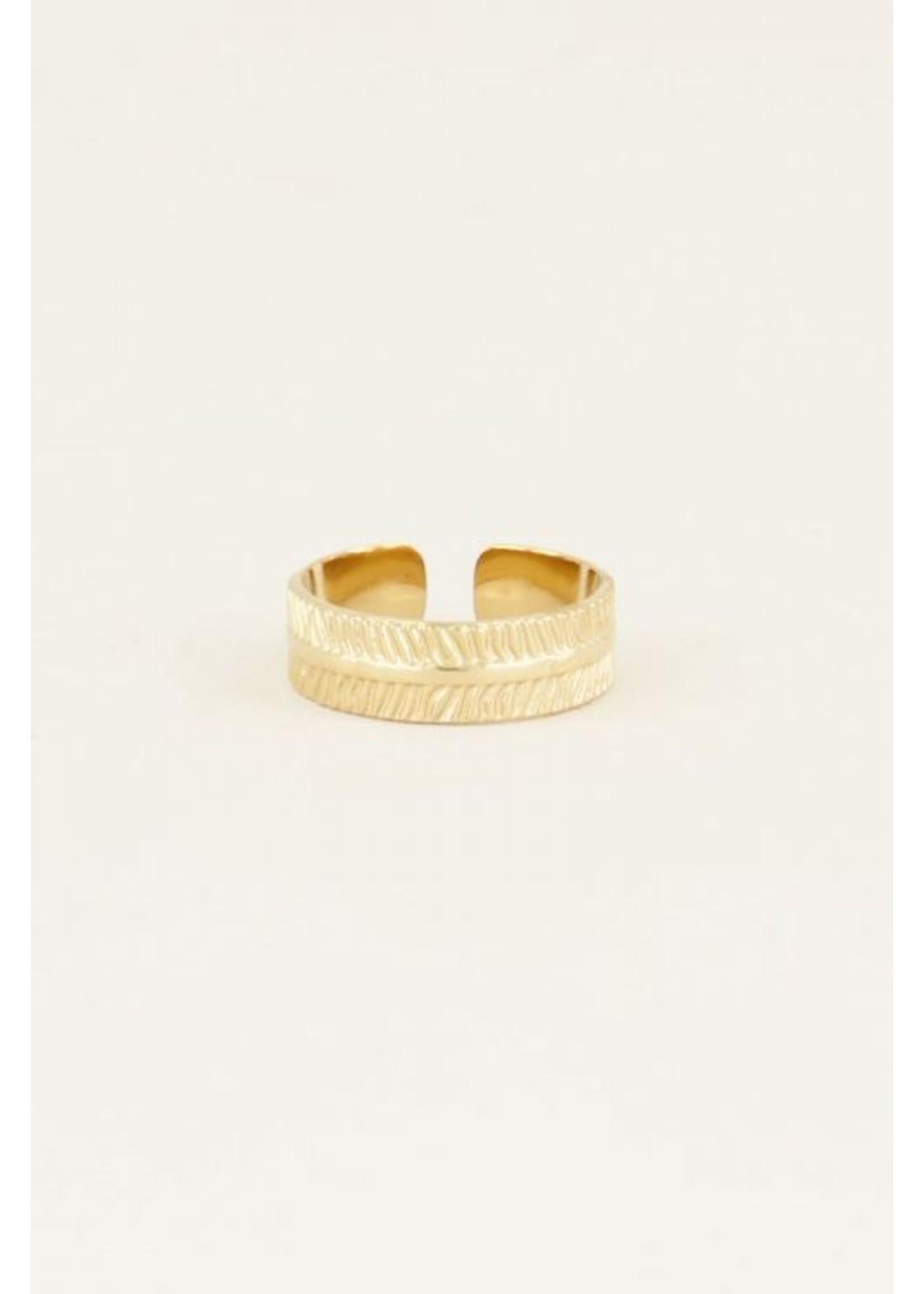 My Jewellery Ring met streepjes GOUD