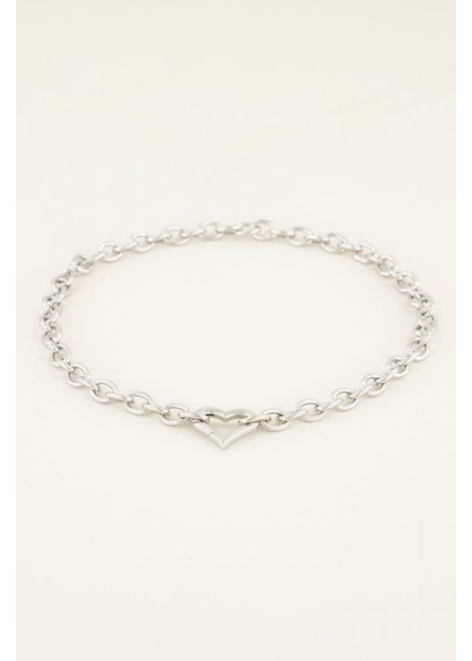 My Jewellery Schakelketting met hartjes sluiting zilver