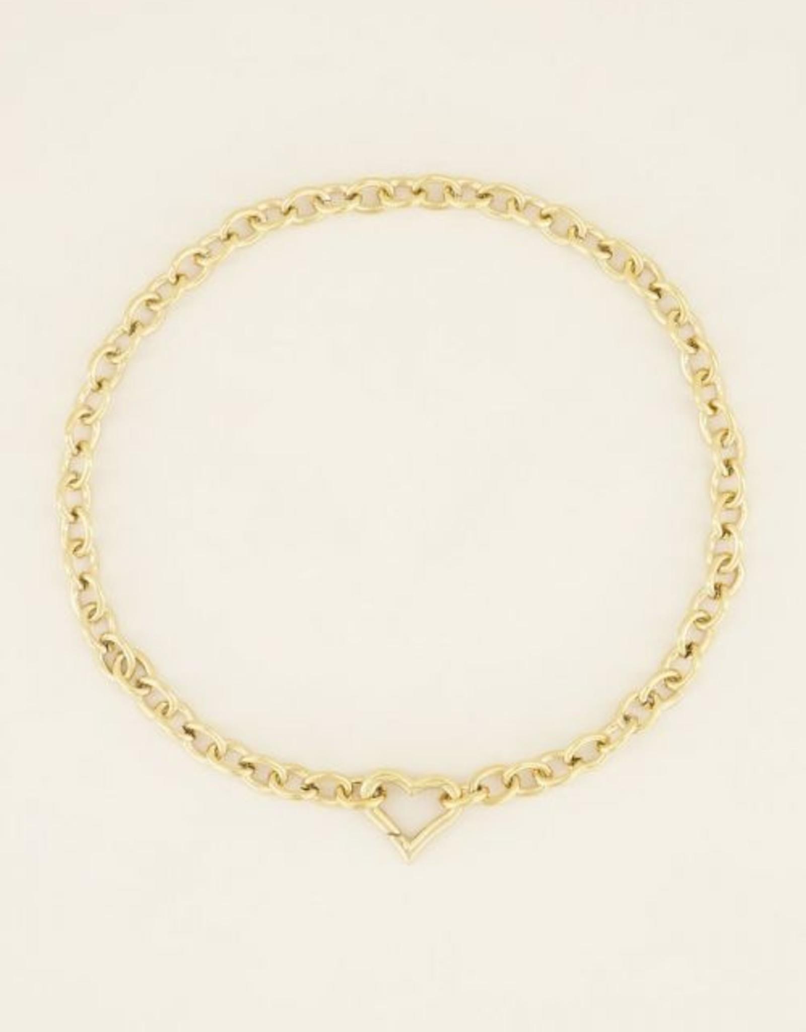 My Jewellery Schakelketting met hartjes sluiting goud