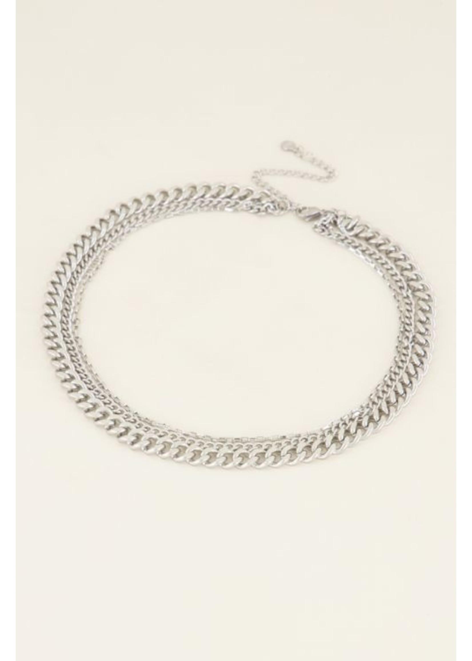 My Jewellery Driedubbele schakelketting zilver