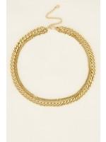 My Jewellery Driedubbele schakelketting goud