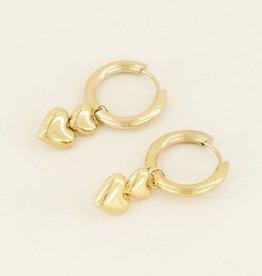 My Jewellery Oorringen dubbel  hartje