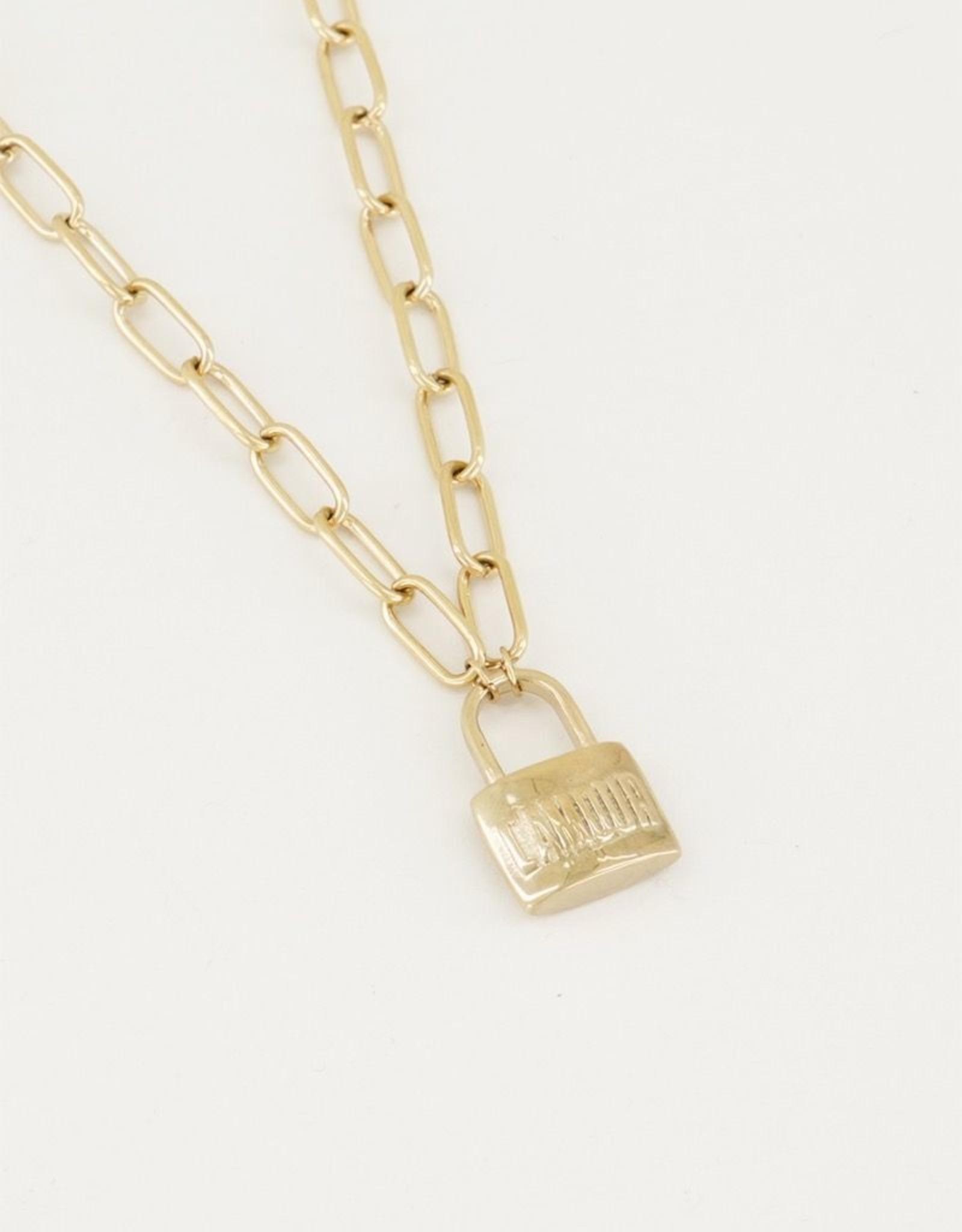 My Jewellery Ketting met slot L'amour goud