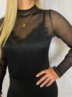 Ladybugs Mesh top met lange mouw en subtiel glittertje Annabel top BLACK