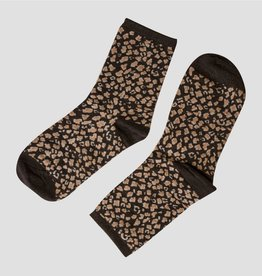Pinned by K Socks glitter Leopard BLACK