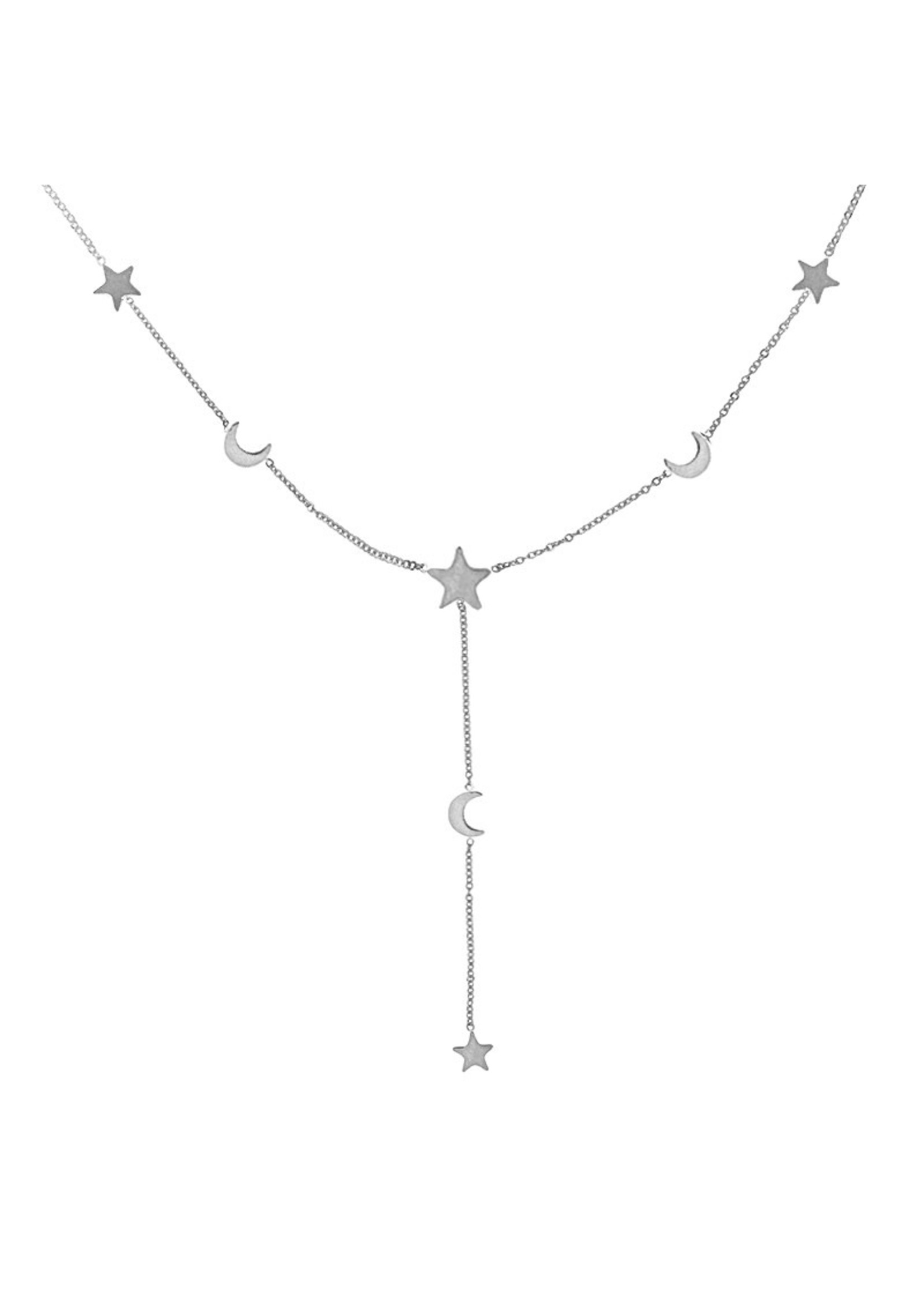 Ladybugs Ketting stainless steel stars moons ZILVER