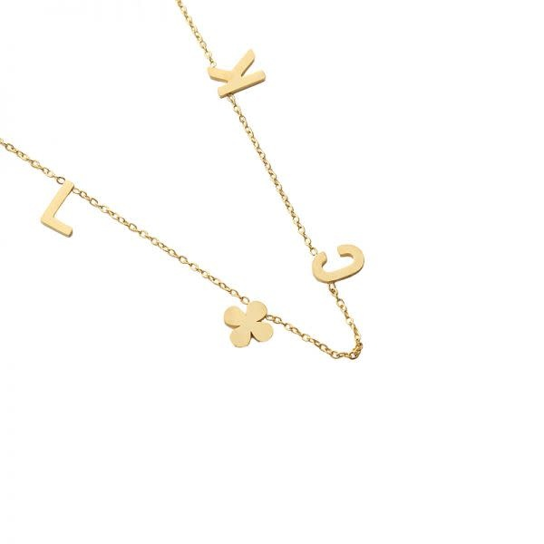 Ladybugs Ketting stainless steel LUCK quote GOUD