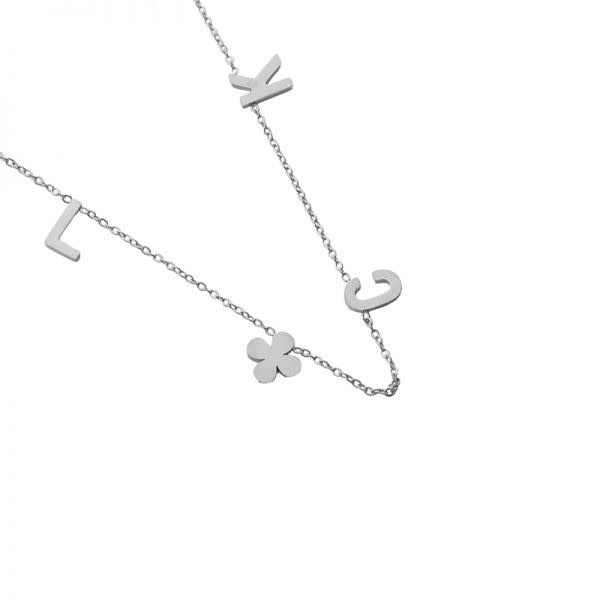 Ladybugs Ketting stainless steel LUCK quote ZILVER