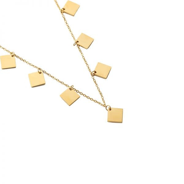 Ladybugs Ketting stainless steel Only squares GOUD