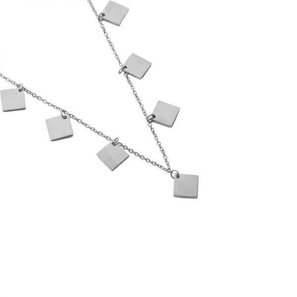 Ladybugs Ketting stainless steel Only squares ZILVER