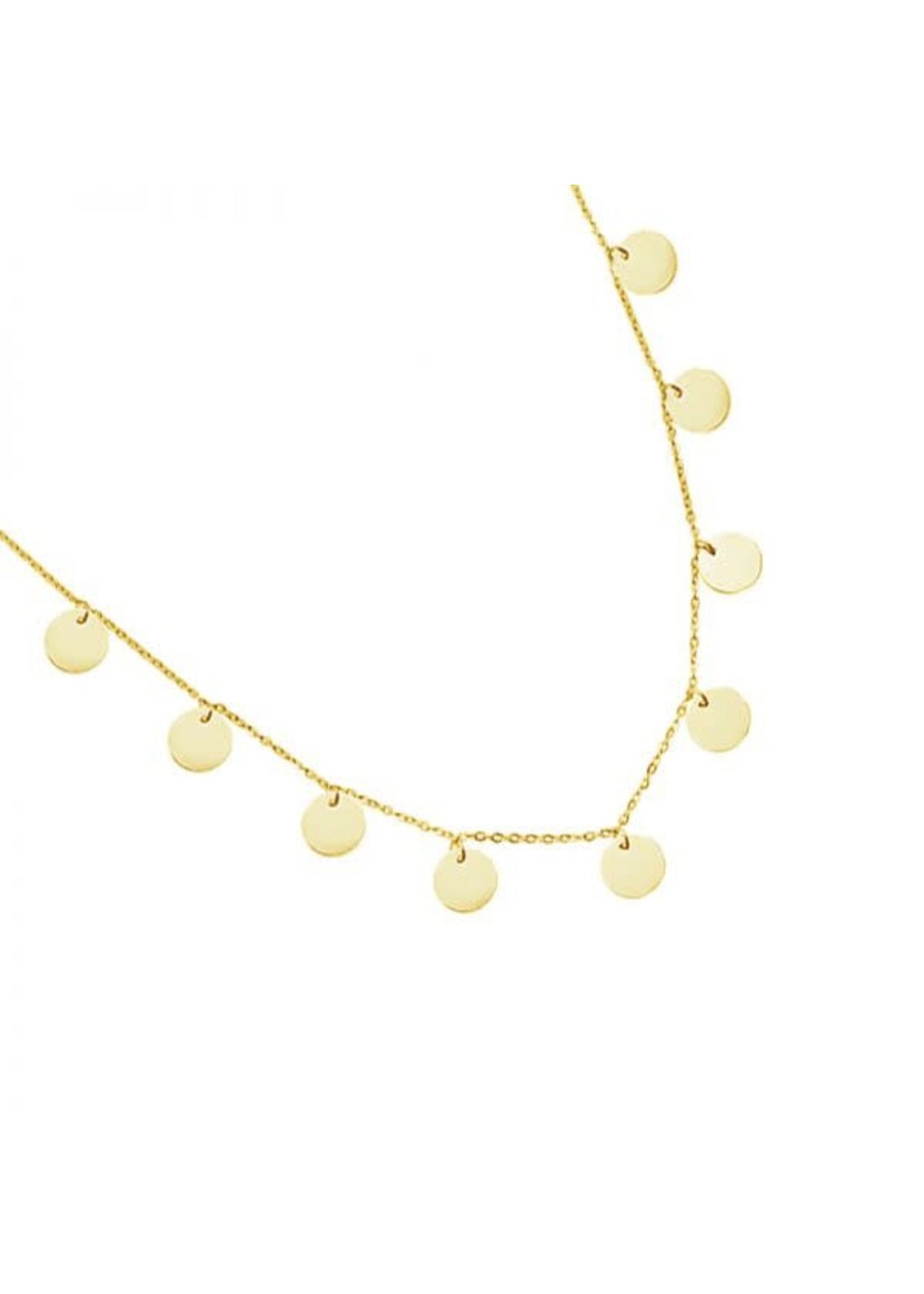 Ladybugs Ketting stainless steel 7 coins GOUD