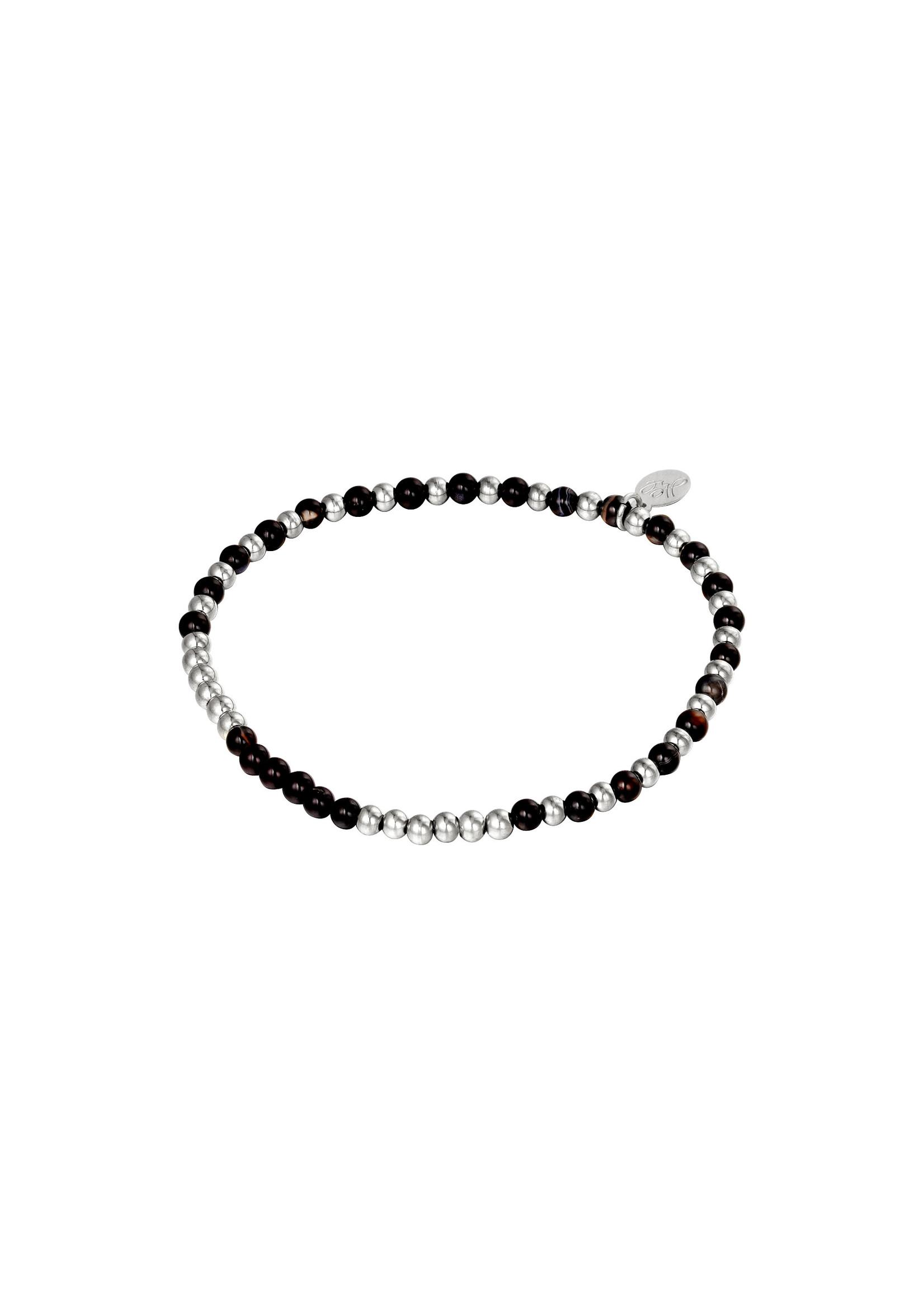 Ladybugs Armband stainless steel elastiek met kraaltjes ZILVER/ZWART
