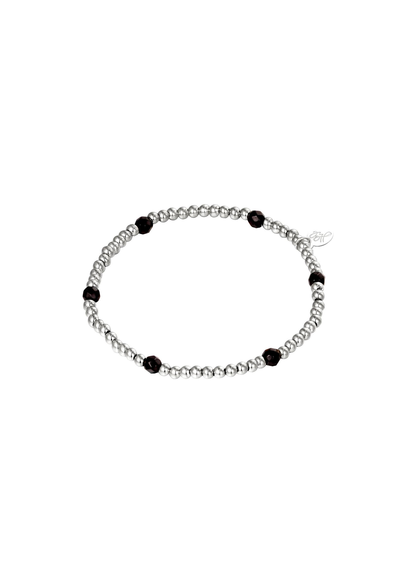 Ladybugs Armband stainless steel elastiek met kraaltjes ZILVER/ZWART 1