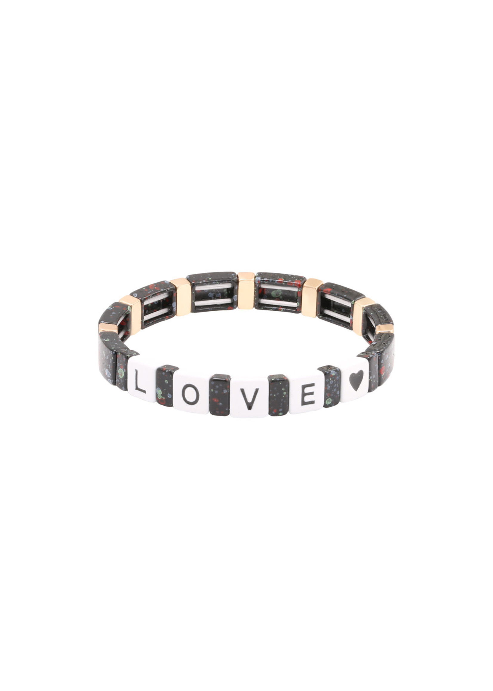 Ladybugs Armband stainless steel elastiek met marmer kralen GOUD/ZWART 1