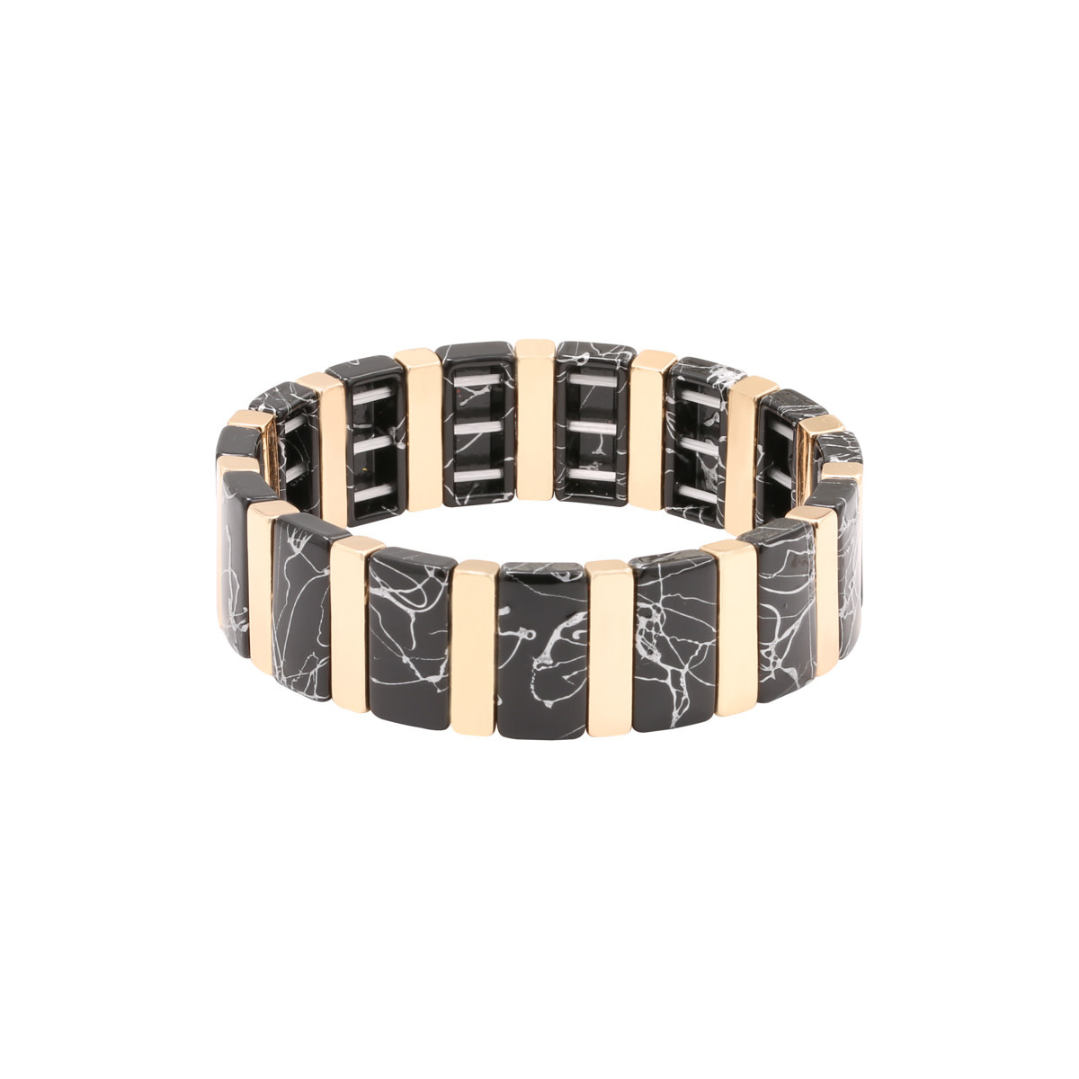 Ladybugs Armband stainless steel elastiek met marmer kralen GOUD/ZWART 3