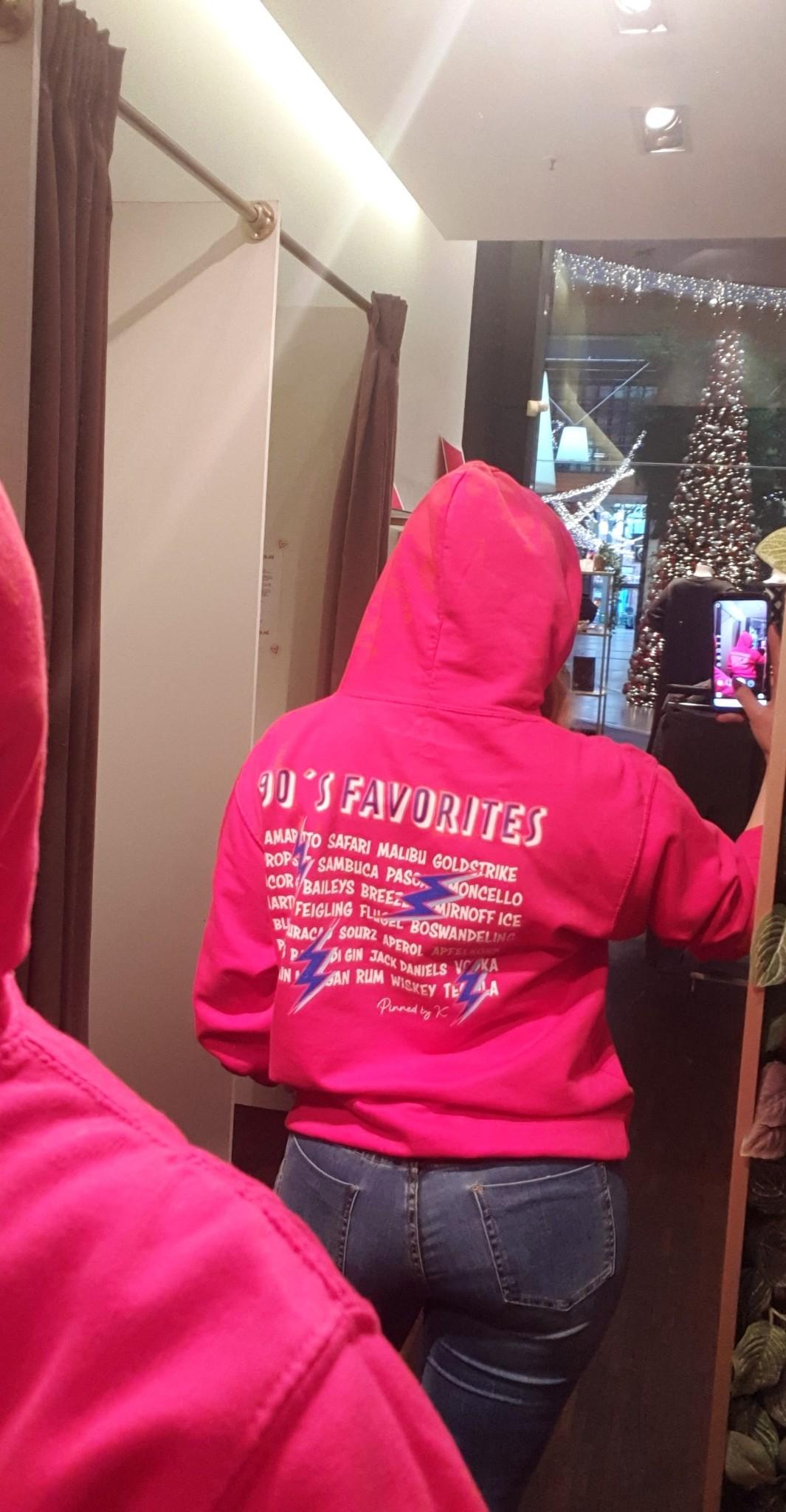 Pinned by K Thunder hoodie back print PINK