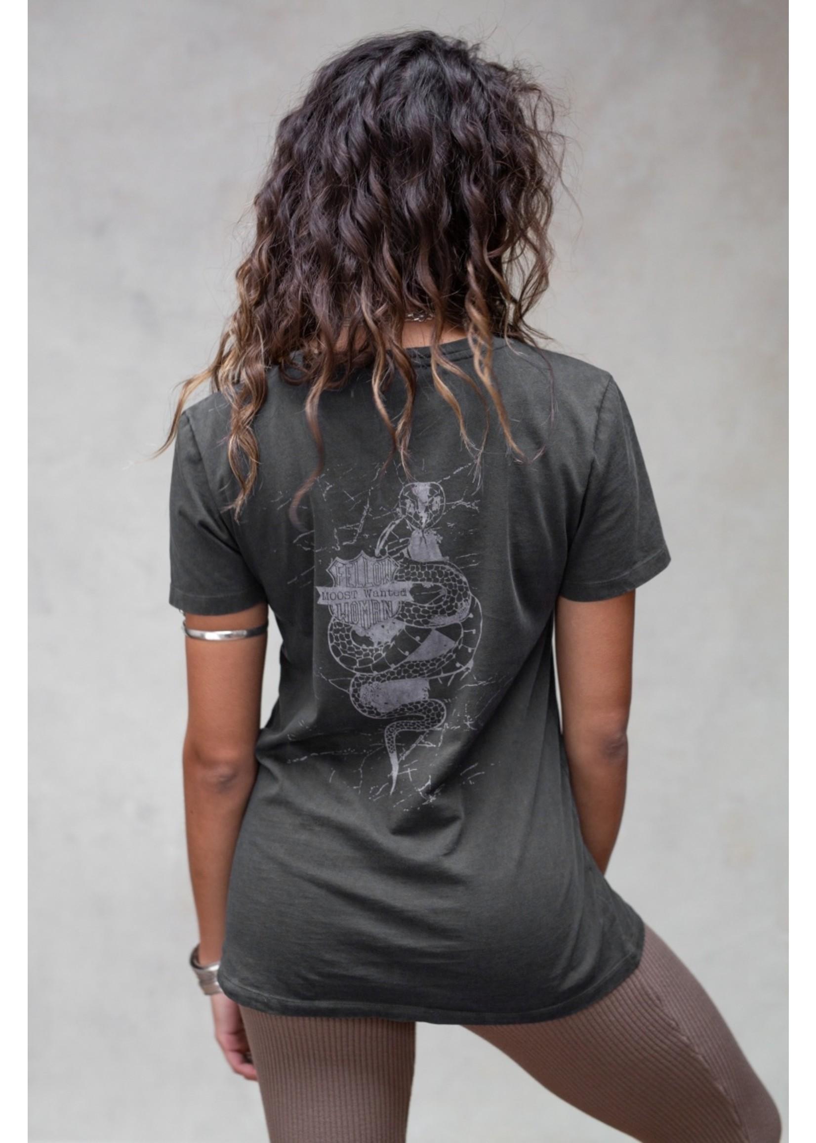 Moost Wanted Shirt met opdruk met slang op de rug Serpent shirt DARK GREY