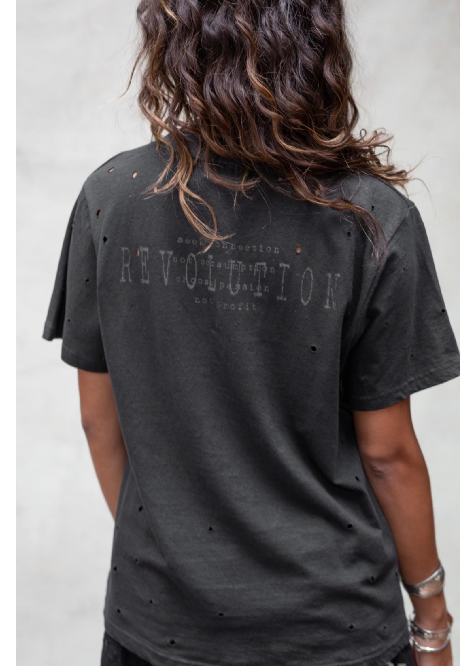 Moost Wanted Shirt met opdruk op de rug en gaatjes DARK GREY