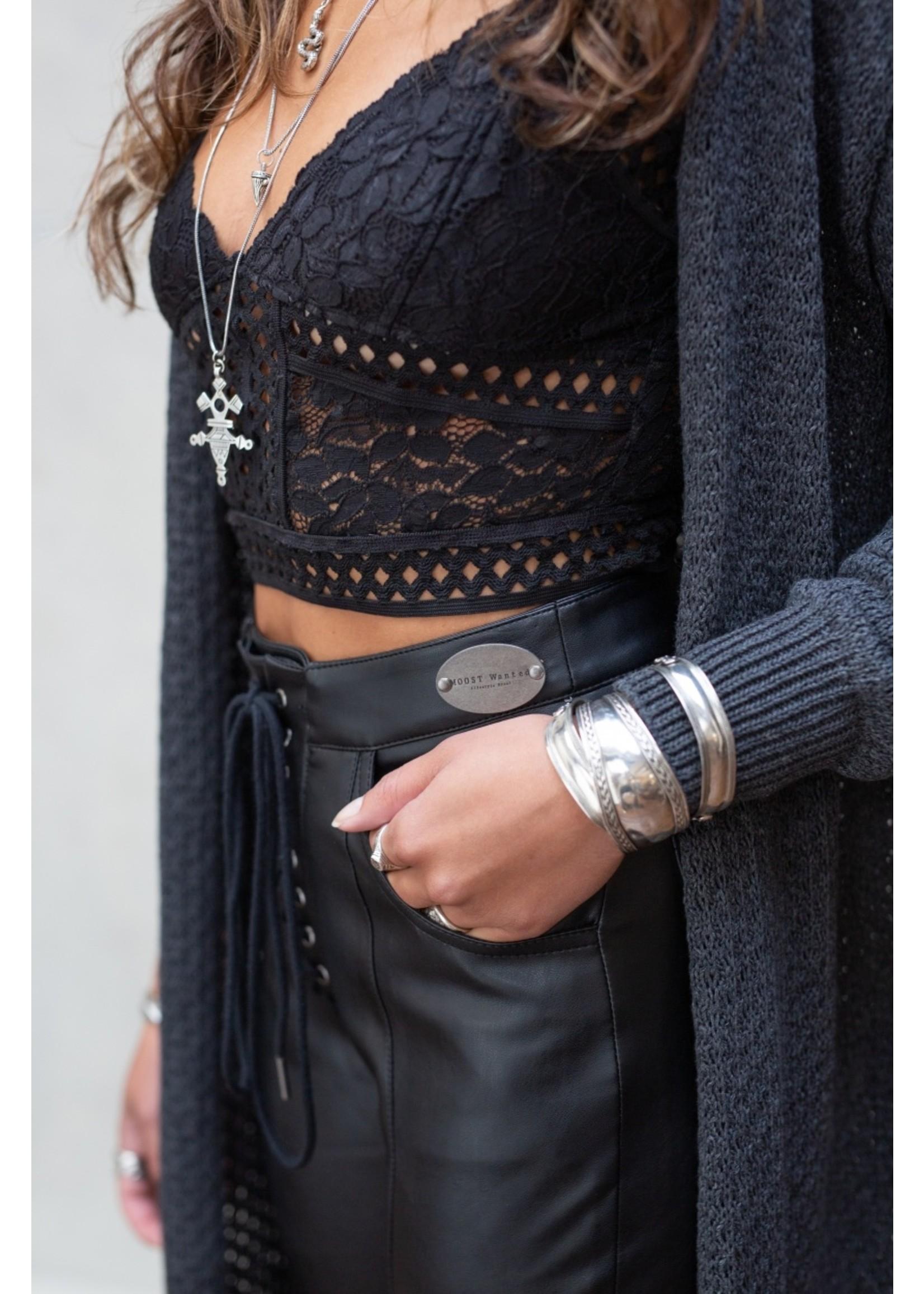 Moost Wanted Leren broek met veter detail Mystic leather pants BLACK