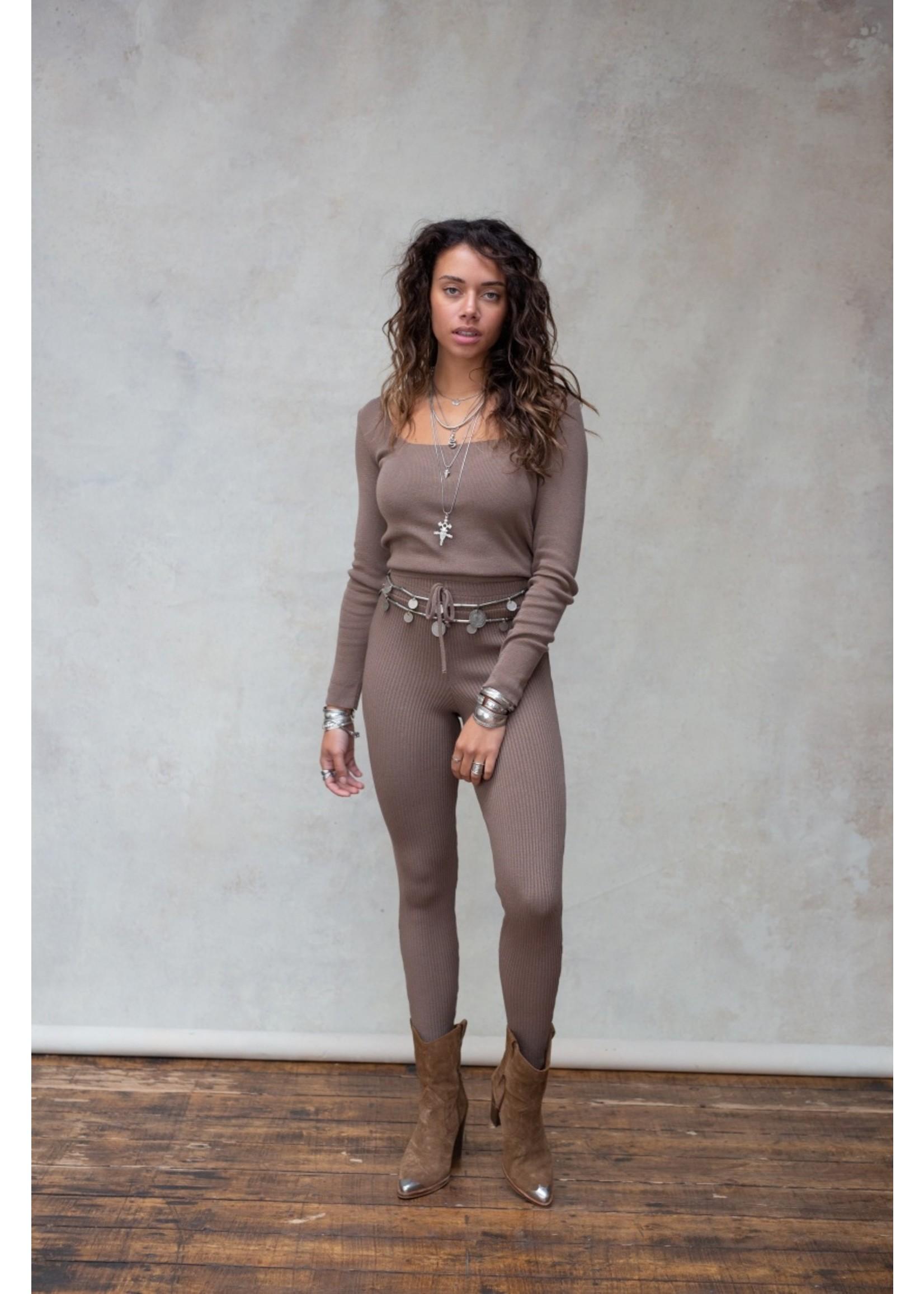 Moost Wanted Gebreide comfy broek legging Fierce knitted pants ASH BROWN