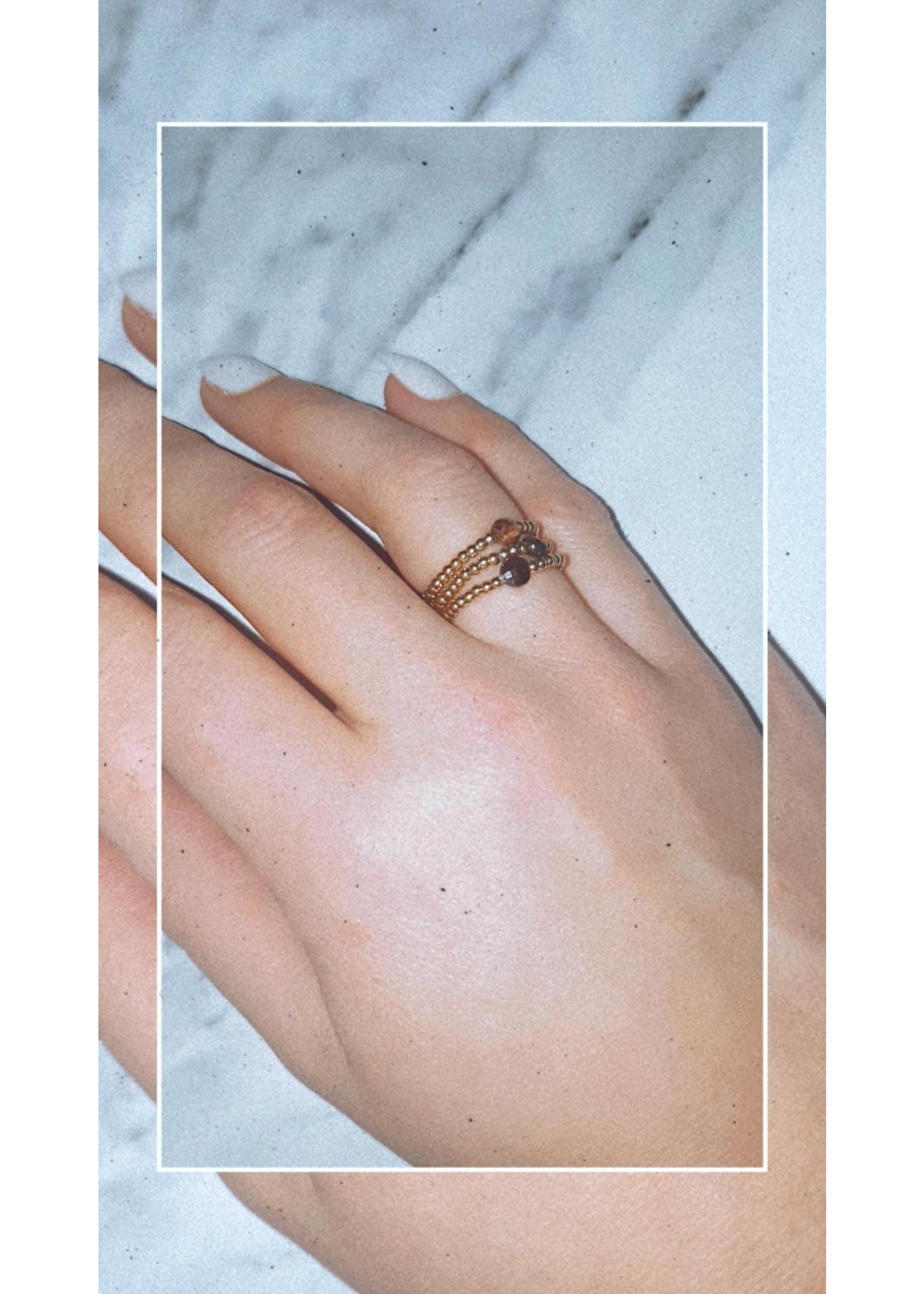 My Jewellery Ringetje van elastiek gekleurde steen GOUD - BRUIN