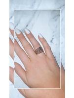 My Jewellery Ringetje van elastiek gekleurde steen ZILVER - ZWART