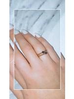 My Jewellery Ringetje van elastiek gekleurde steen GOUD - ZWART