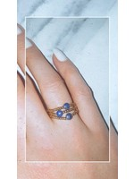 My Jewellery Ringetje van elastiek gekleurde steen GOUD - BLAUW