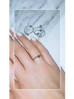 My Jewellery Ringetje van elastiek gekleurde steen ZILVER - GROEN