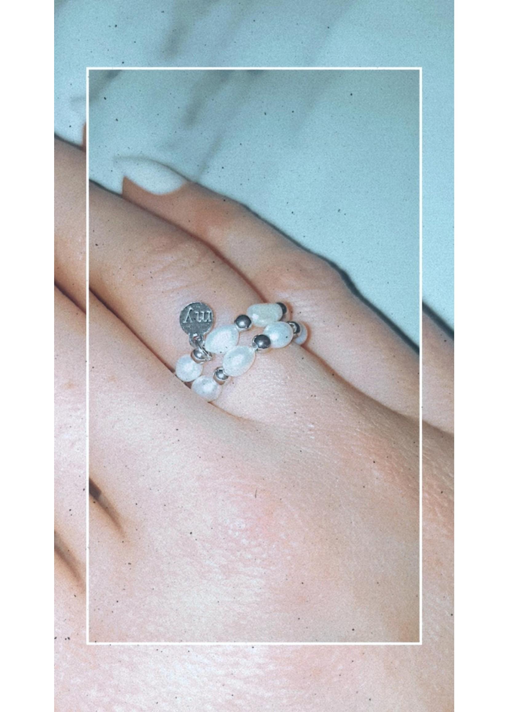 My Jewellery Ringetje van elastiek  parel ZILVER
